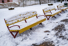 Yellow Wooden Park Benches Covered With Snow