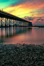 A Very Colorful Sunset Over Calcasieu River Bridge In Lake Charles, Louisiana