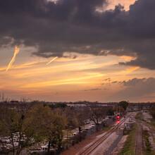 A Dynamic Sunset Over Train Tracks In East Austin, Texas