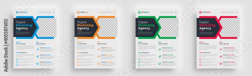 Fototapeta flyer. creative corporate abstract shape trendy flyer magazine leaflet design with creative abstract geometric shape template design obraz