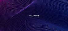 Abstract Halftone Wave Line Background .