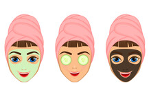 Girl Cares And Protects Her Face With Various Actions, Facial, Treatment, Beauty, Healthy, Hygiene, Lifestyle, Set, In A Towel, Black Mask, Cucumber