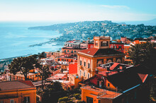Gulf Of Naples At Sunset With A View Of Vesuvius, Panorama Seen From Castel Sant'Elmo