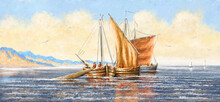 Fishing Sailing Boat On The Sea. Oil Paintings Sea Landscape. Fine Art.