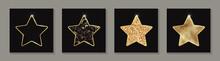 Set Of Golden Glittering Stars On A Black Background.