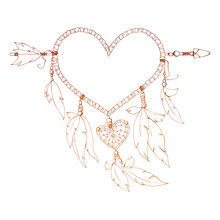 Contour Dreamcatcher. Isolated. Shape Of Heart. Frame.