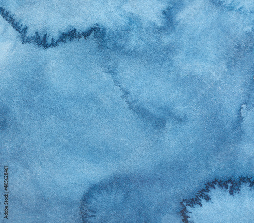 Abstract watercolor background with artistic brushstrokes, marks, stains, washes and dark blue colour Fotobehang