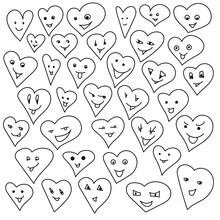 Set Of Contour Cute Hearts With Smiles, Positive Emotive Love Symbols, Coloring Page To Valentine's Day
