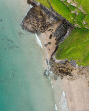 Aerial View Of Bossiney Cove, Tintagel, Cornwall, United Kingdom