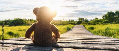 Fotografia Close-up Of Stuffed Toy On Wooden Footbridge Against Sky