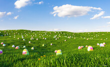 Multi Colored Easter Eggs On Land Against Sky
