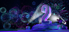 Number 2 In Solid And Thick Form On A Pedestal Illuminated By 4 Reflectors At Night With Fireworks Of Blue, Magenta, Cyan And Purple Color On Starry Night. 3d Illustration