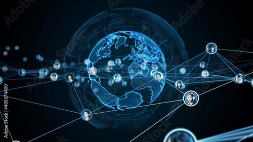 グローバルネットワーク Fotobehang