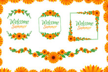 Sunflower In Greeting Card Template