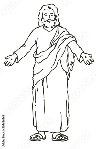 Photo Vector illustration of resurrected Jesus Christ with arm wide open
