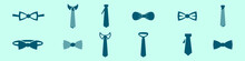 Set Of Cravat Cartoon Icon Design Template With Various Models. Vector Illustration Isolated On Blue Background