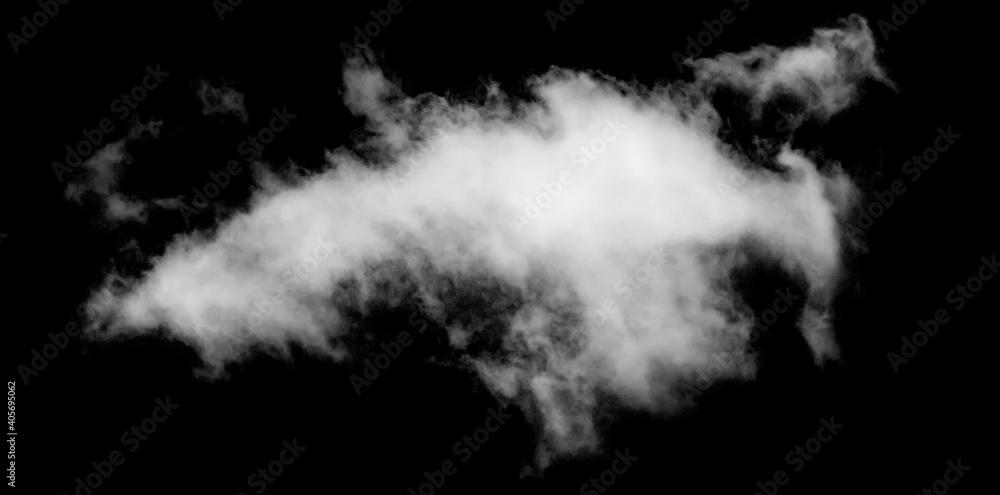 Obraz White cloud isolated on black background, Fluffy texture , Abstract smoke fototapeta, plakat