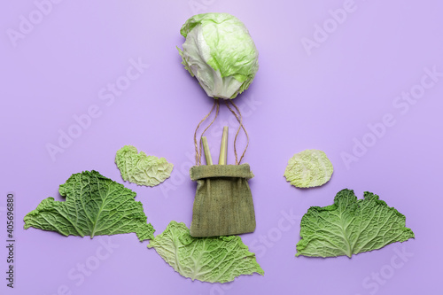 Fototapeta Composition with fresh vegetables on color background