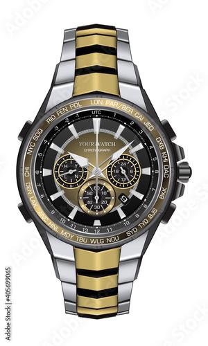 Realistic watch clock chronograph silver gold black steel design fashion for men luxury elegance on white background vector illustration Fototapeta
