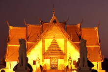 Beautiful Night Sky At Wat Phumin. Phumin Temple Is Located In The Heart Of Nan, Thailand.