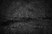 Black Grunge Background. Old Concrete Wall Texture. Cracked Damaged Wall. Distressed Gothic Dark Rough Backdrop With Copy Space For Your Design.