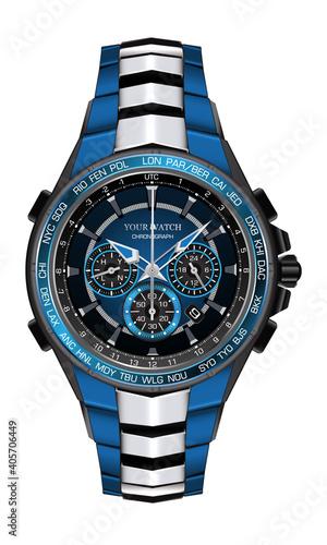 Fotografija Realistic watch clock chronograph blue silver black steel design fashion for men luxury elegance on white background vector illustration
