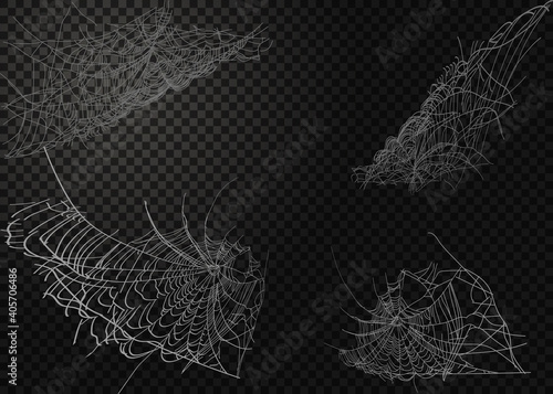 Collection of Cobweb, isolated on black, transparent background. Fototapet