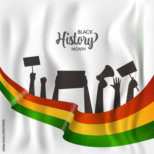 Black History Month Concept With Silhouette People Hands Protesting For Their Rights On White Silk Background.
