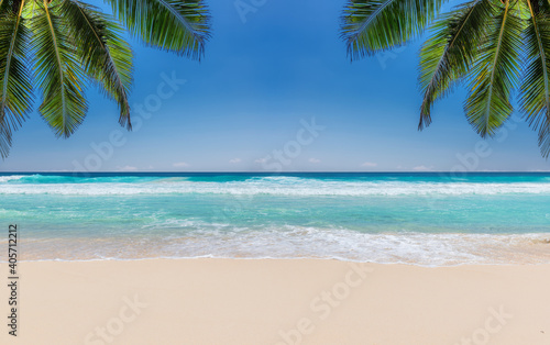 Tropical beach with white sand, tropical sea and palms. Summer vacation and tropical beach concept.