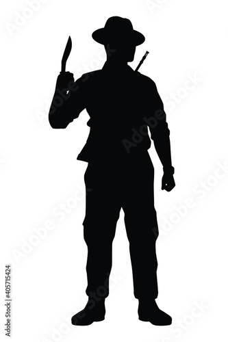 Tela Kurkha soldier with weapon silhouette vector, military man in the battle