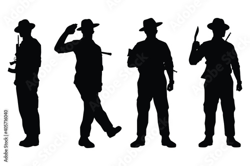 Set of Kurkha soldier with weapon silhouette vector, military man in the battle Fototapeta