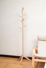 Empty Wooden Coat Rack In The Room Background