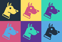 Pop Art Dog Head Icon Isolated On Color Background. Vector.