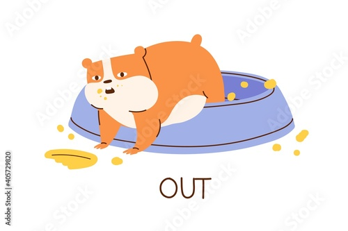 Obraz Cute fat hamster demonstrating English preposition of direction and place by climbing out its bowl. Funny animal with inscription isolated on white background. Childish color flat vector illustration - fototapety do salonu