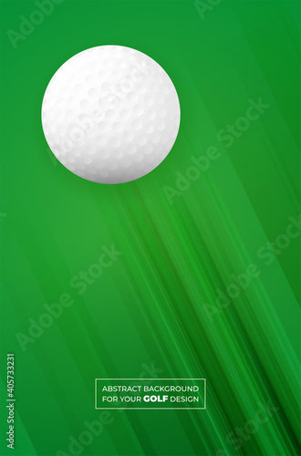 Fotografija Abstract green background with stripes and golf ball