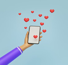 Hand Holding Smartphone And Hearts. Minimal Concept. 3d Rendering