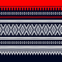 Vector Geometric Illustration Of Mari / Marius Traditional Norwegian Sweater Seamless Pattern In Red Blue And White