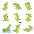 Cute Funny Crocodiles in Different Situations Set, Funny Alligator Green Predator Animal Character Cartoon Style Vector Illustration