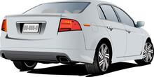 Gray  Sedan Car. Vector Colored 3d Illustration