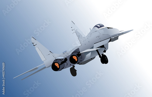 Canvastavla Combat aircraft. Colored 3d vector illustration for designers