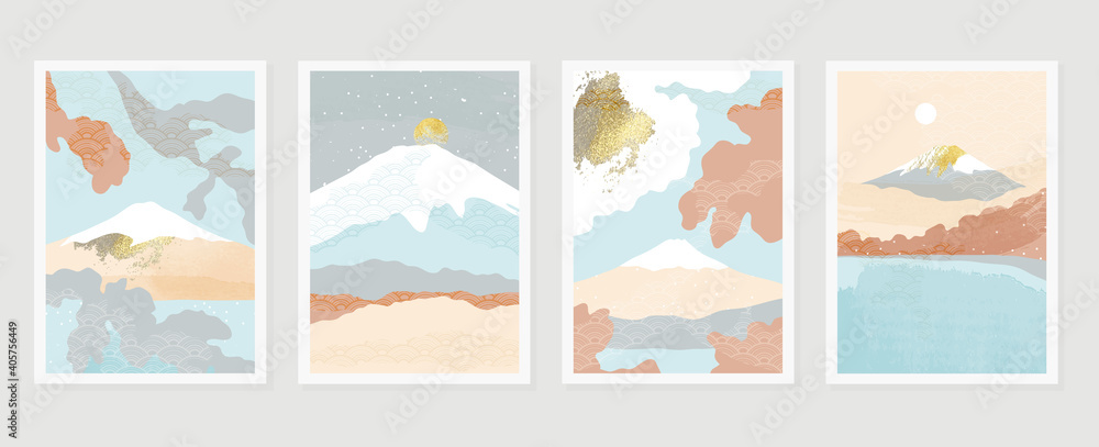 Fototapeta Mountain and gold landscape wall arts vector. Japanese oriental style abstract arts with gold texture design for wall framed prints, canvas prints, poster, home decor, cover, luxury wallpaper.
