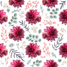 Beautiful Background With Hand-drawn Delicate Watercolor Painting Of Red And Pink Dahlias. Stock Drawing. Black Background