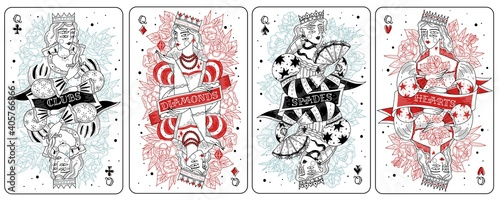 Obraz Playing cards queens set - fototapety do salonu