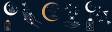 Illustrations With Crescent Moon, Moths, Witch Hands And Celestial Elements, Mystical Symbols, Witch Magic Elements, Witchcraft, Star Mystic Moth