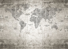 An Old World Map With The Names Of Cities In Russian. Stylized Photo Wallpapers. World Map. Grunge Collage Background/