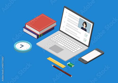 Fototapeta オンライン授業・オンライン試験のイラスト素材