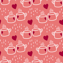 Valentines Day Theme Doodle Vector Seamless Pattern Of Hand Drawn Two Cups Of Tea Of Coffee With Heart Shape.