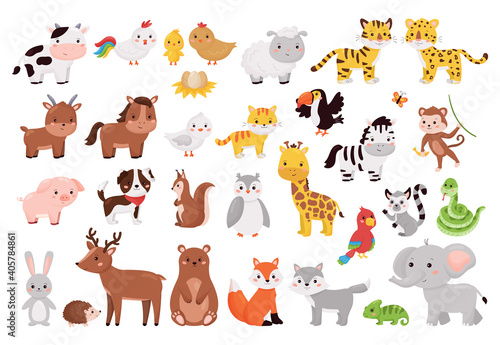 Fototapeta premium Cartoon animals and birds collection. Cute jungle, forest and farm animals set isolated on white background. Vector illustration for children education.