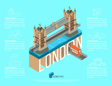 Isometric Famous Place In London Tower Bridge, Vector Illustration