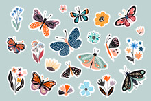 Moths, Butterflies And Flowers Stickers Collection, Abstract Decorative Design
